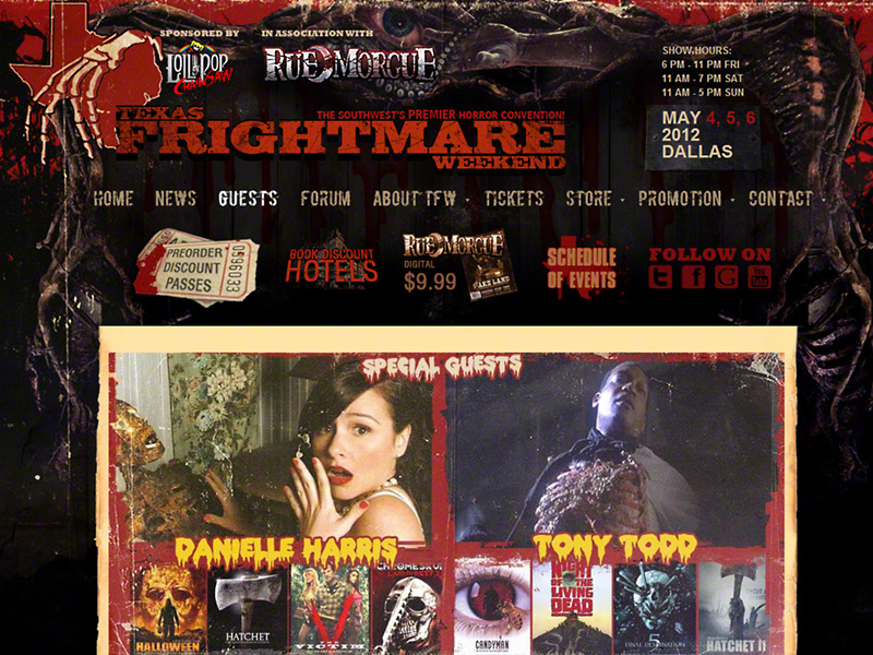 Texas Frightmare Weekend Horror Convention<div style='clear:both;width:100%;height:0px;'></div><span class='desc'>Web Design / Development, E-Commerce, Forum - Produced in collaboration with Bla...</span>